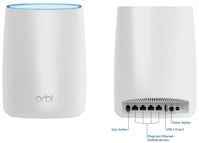 Orbi Wi-Fi Satellite Front and Back Views