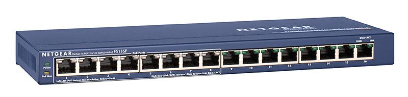 Netgear Fs116p Prosafe 16 Port Desktop Switch With 8 Port